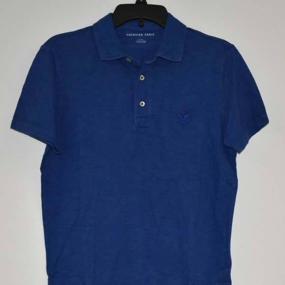 American Eagle Outfitters Mens Polo Shirt Blue